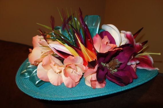 Tropic Thunder  Tropical Floral Derby Hat by AfternoonCrowns, $225.00