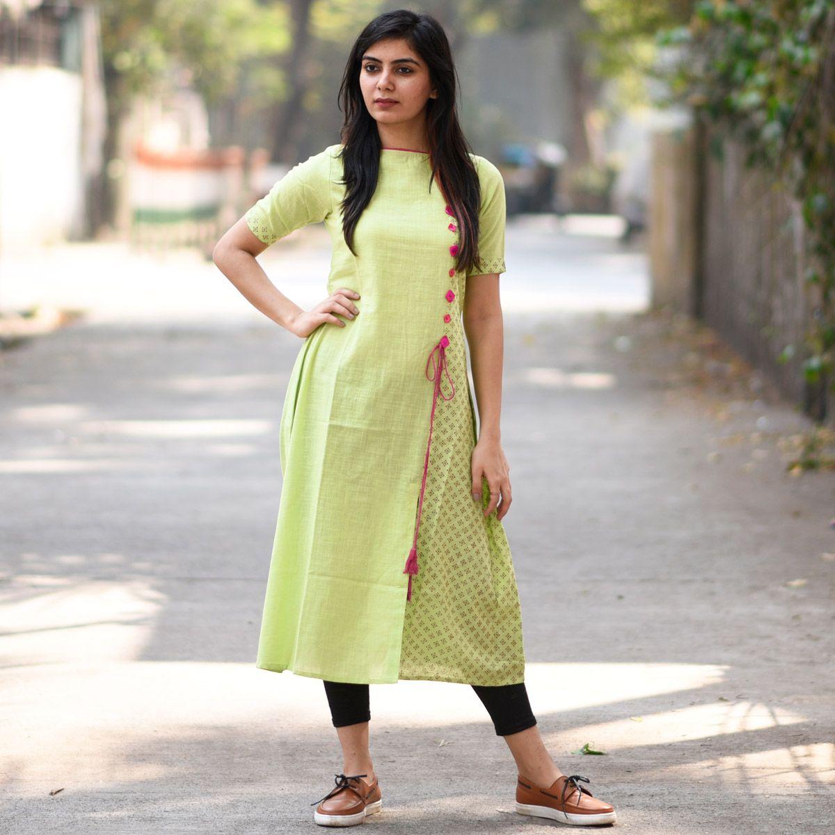 4ae10ec4be Ways to style Indian regular kurta, lemon kurta with side slit. Gujarati  style kurta paired with leggings and brown moccasins.