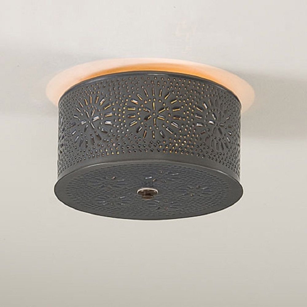 Ceiling Light Primitive Round Punched Chisel Pattern Country Tin Finish Usa Made