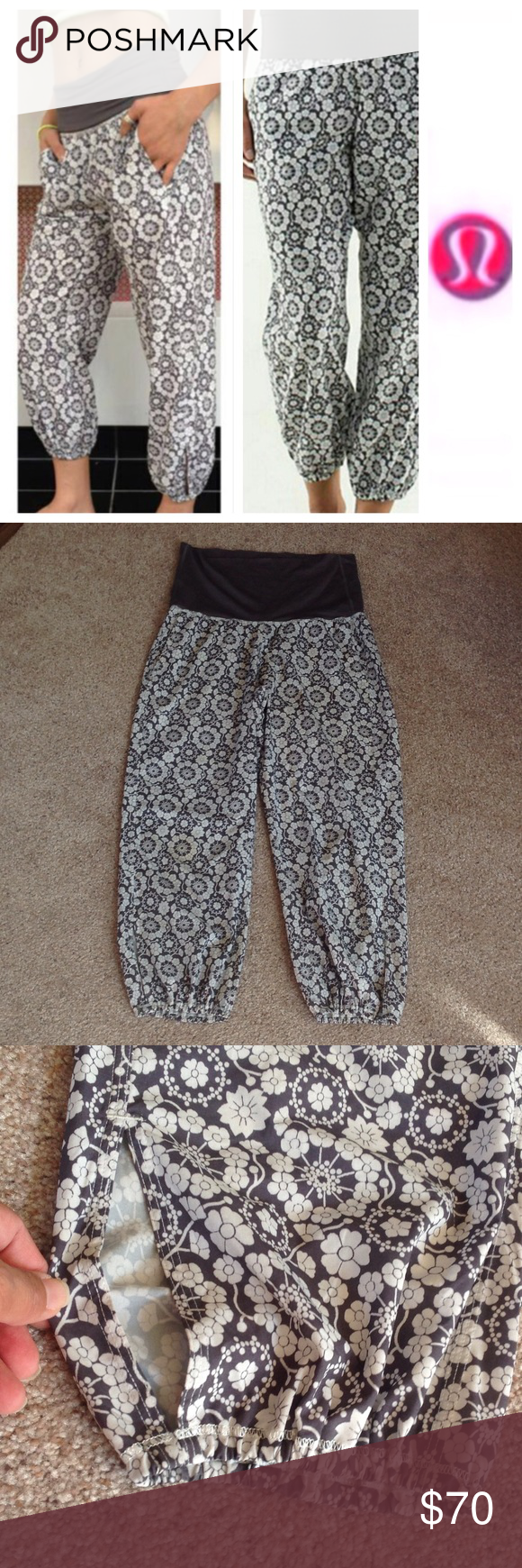 """Lululemon om pants Like new. Probably worn just once. Tag got cut off but these are size 10. Inseam is 25"""" long. Waist measures 15.5"""" across  laying flat without a stretch.     .                                             e lululemon athletica Pants Ankle & Cropped"""