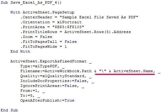 VBA code to save Excel worksheet as PDF using worksheet name - examples of spreadsheet