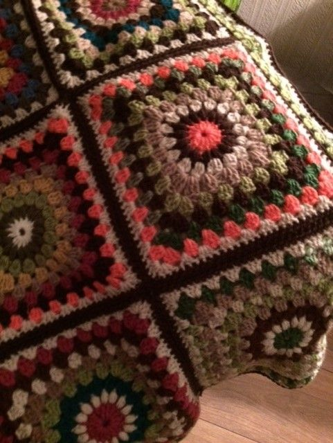 My latest afghan using Autumn colours and a sunburst granny square pattern