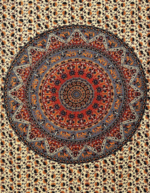 Indian Mandala Hippie Bohemian Queen Wall Hanging Tapestry Orange Bedcover Decor