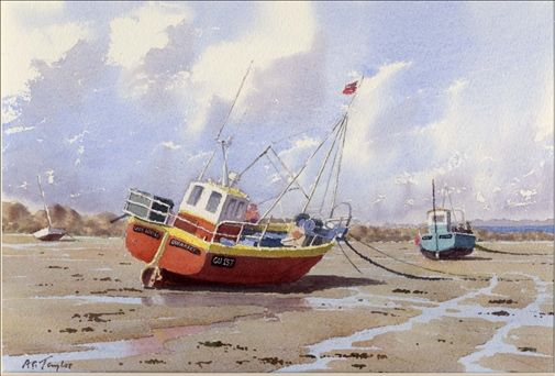 Tony Taylor Guernsey Fishing Boats Watercolor On Paper 9 X 13