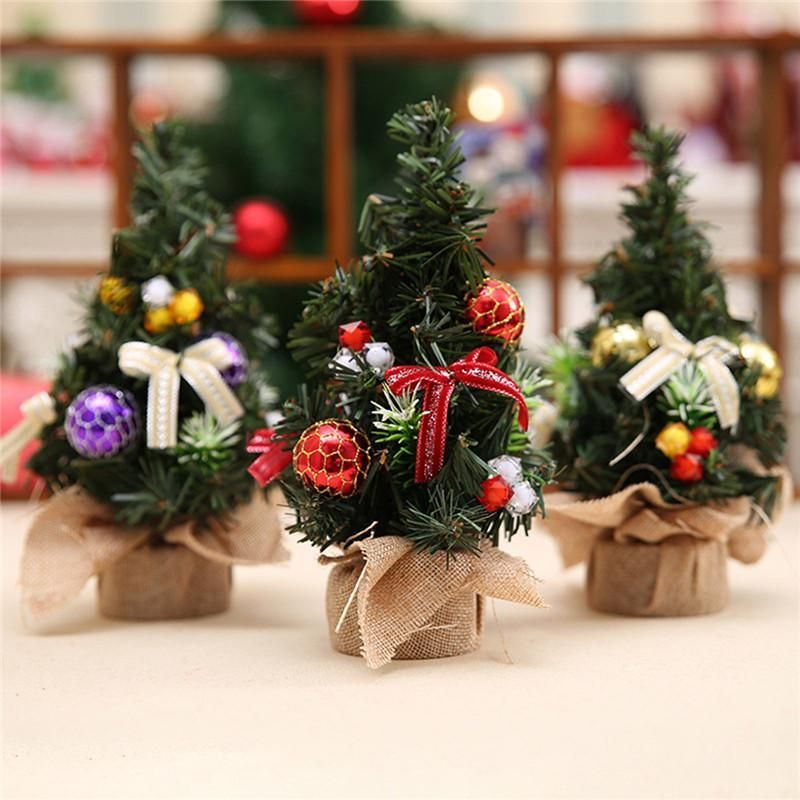3 pcs/lot Gold Purple Red Mini Artificial Christmas Tree Xmas Home