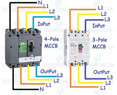 How To Wire Mccb Circuit Breakers 3 Pole And 4 Pole Circuit Diagram Electronic Engineering