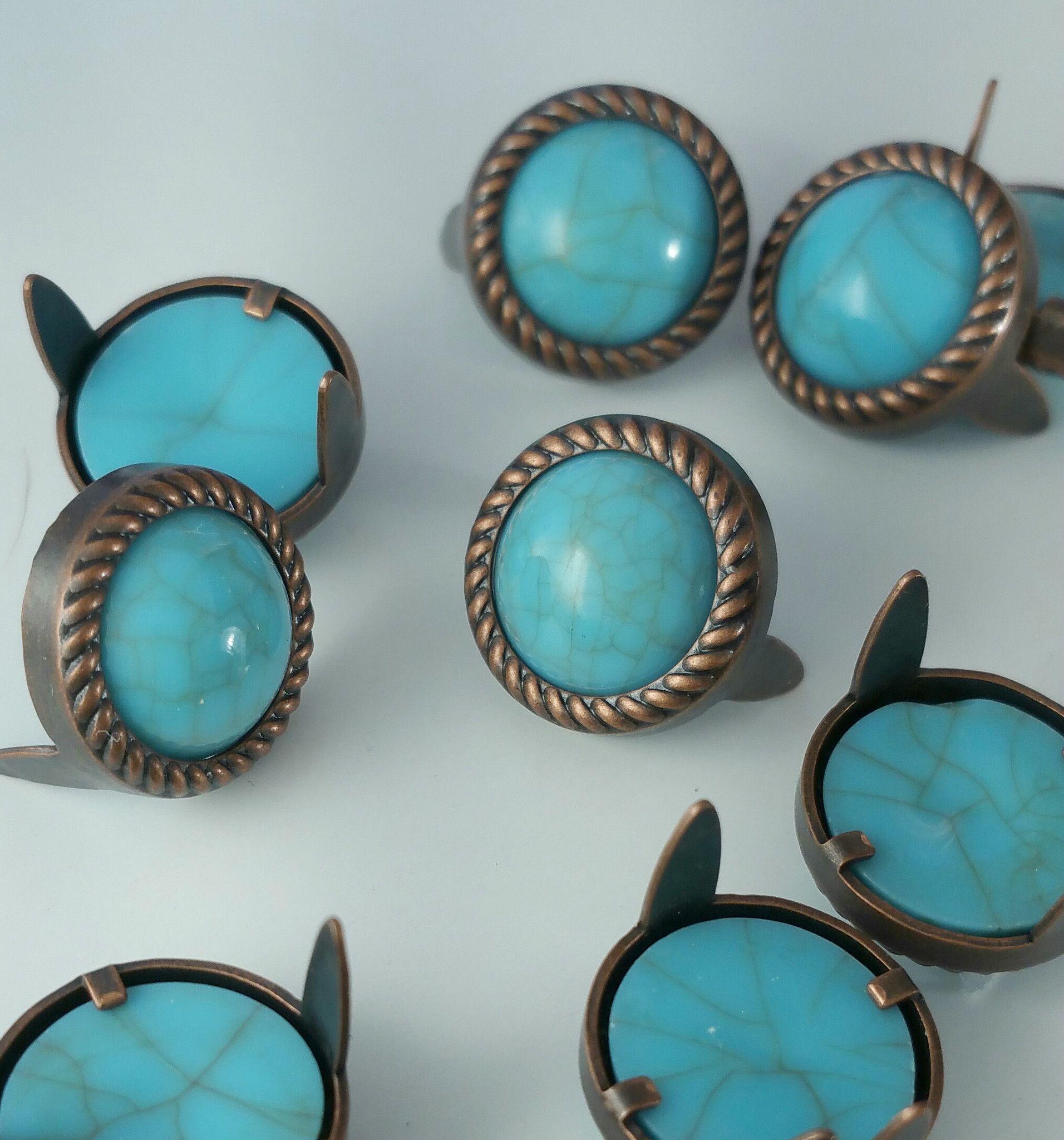 "7531-M06 1/2"" Rope Edge Turquoise Gemstones with Antique Copper Setting"