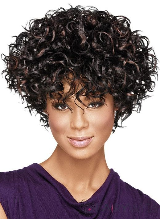 Chic Short Curly Sepia African American Wigs