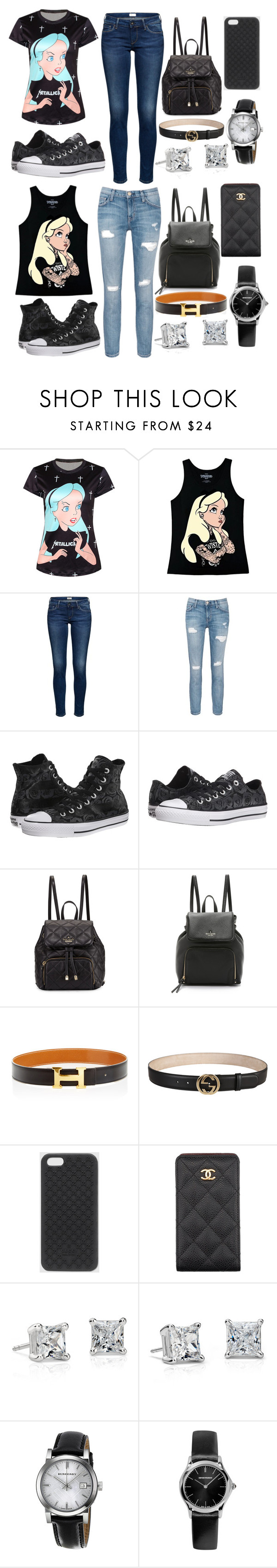 """""""Out with the Bestie """" by neilaninewsome ❤ liked on Polyvore featuring Disney, Current/Elliott, Converse, Kate Spade, Hermès, Gucci, Chanel, Blue Nile, Burberry and Emporio Armani"""