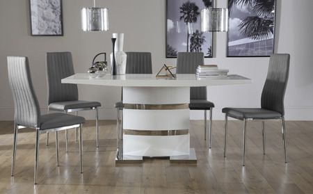 Komoro White High Gloss Dining Table With 6 Renzo Grey Leather