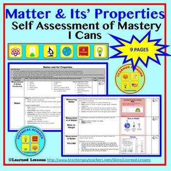 Physical Science Matter I Cans Student Self Assessment Student
