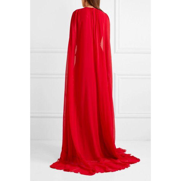 Cape-effect Silk-georgette Gown - Red Giambattista Valli 1Zj2Jf
