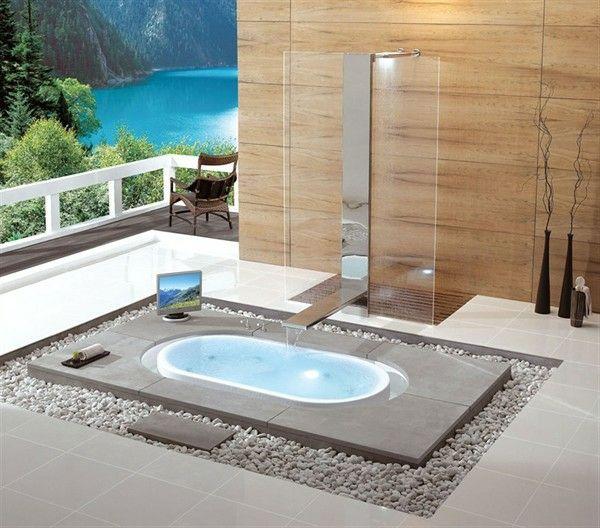 Luxus badezimmer mit whirlpool  Kieselsteine Badezimmer gestalten Luxus Leben | Haus | Pinterest ...