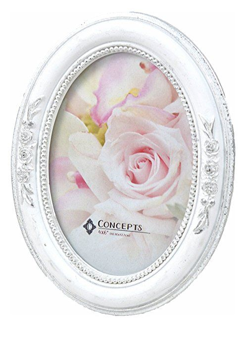 Concepts White Silver Oval Side Rose Resin Picture Frame 4x6