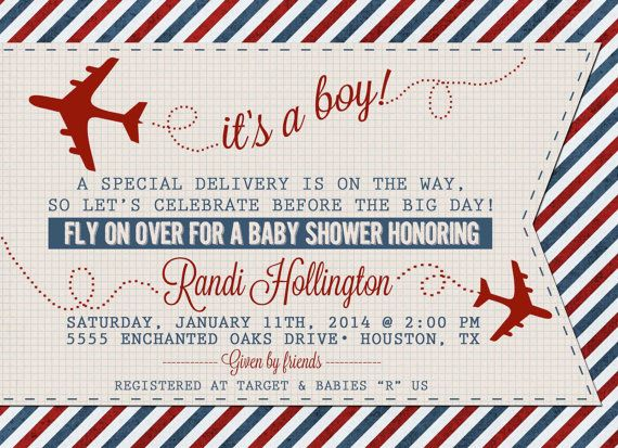 Vintage Airplane Or Aviation Baby Shower Invitation