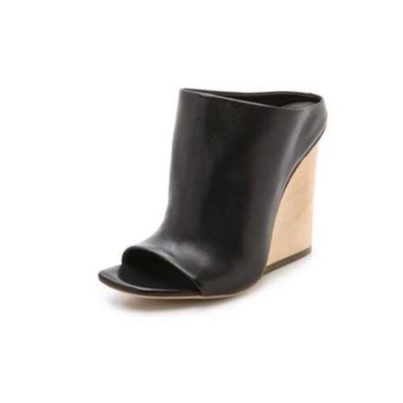 Open Toe Mule Wedge Vic Matie; Calfskin; Made in Italy; Never been worn; Rubber patch at wooden soul Vic Matie Shoes Wedges