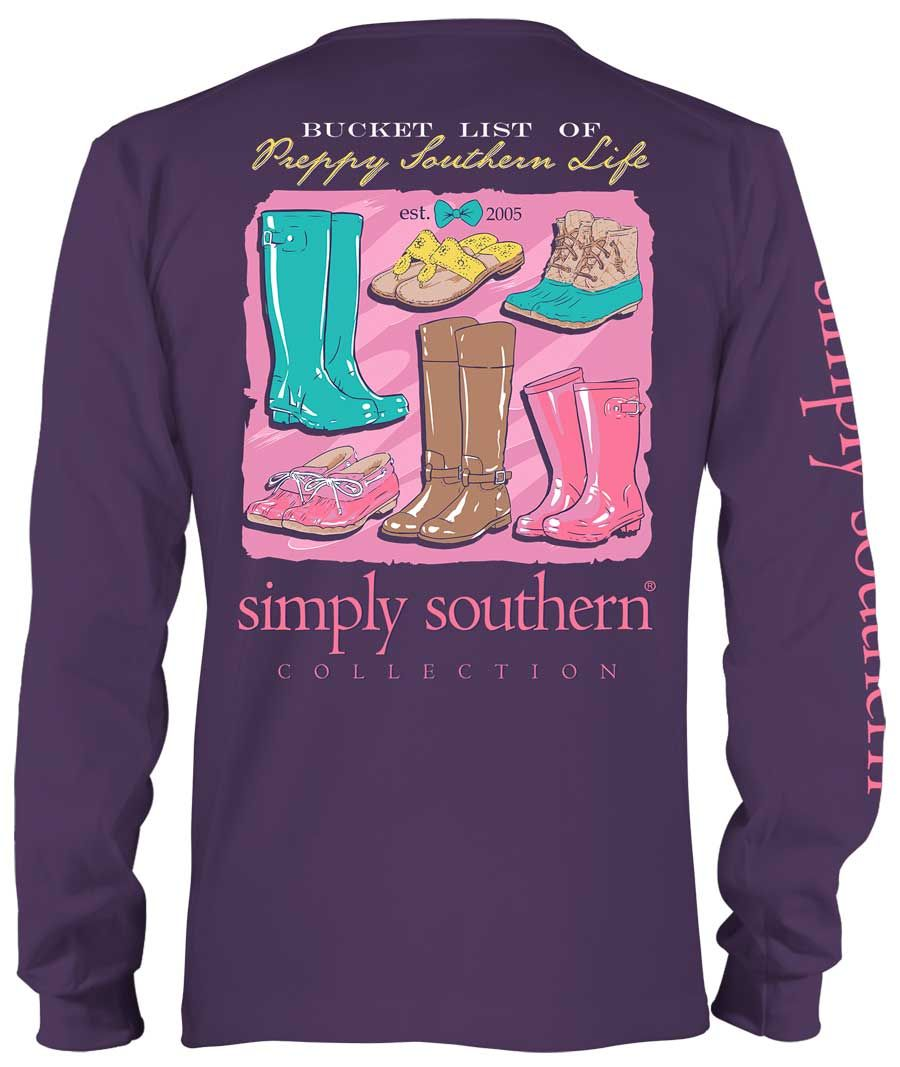 f1b98dfc6f6465 Simply Southern Preppy Collection Southern Life Long Sleeve Tee in Concord