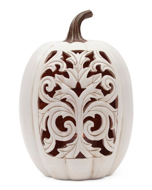 Country-Scroll Work Lighted Pumpkin