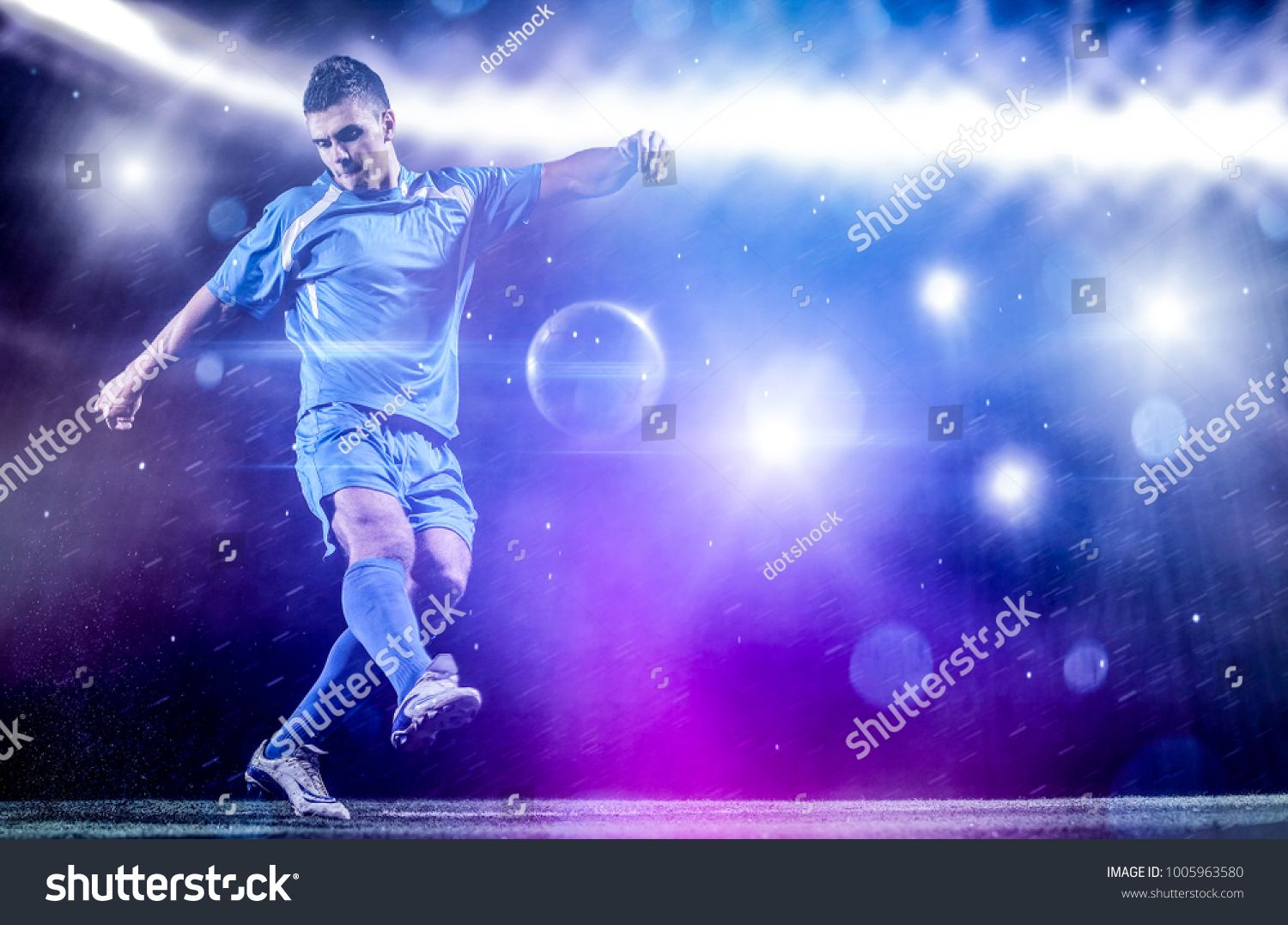 Soccer Player Doing Kick With Ball On Football Stadium Field Isolated On Black Background Soccer Players Football Stadiums Kicks