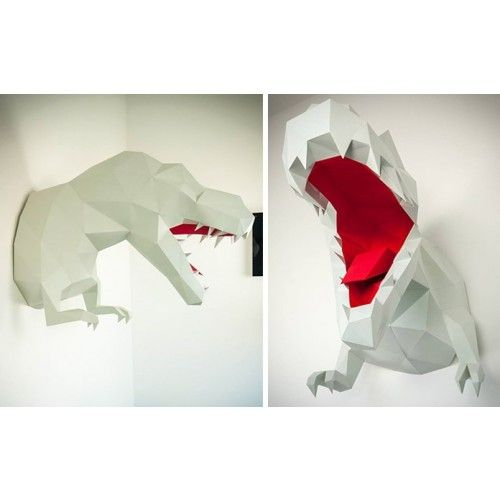 origami wall trophy paper dinosaur t rex decoration for kids room animal trophies by. Black Bedroom Furniture Sets. Home Design Ideas