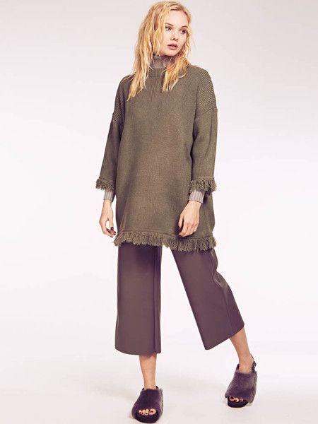 Dahlia Isabella Khaki Green Drop Shoulder Fringe Jumper Dress
