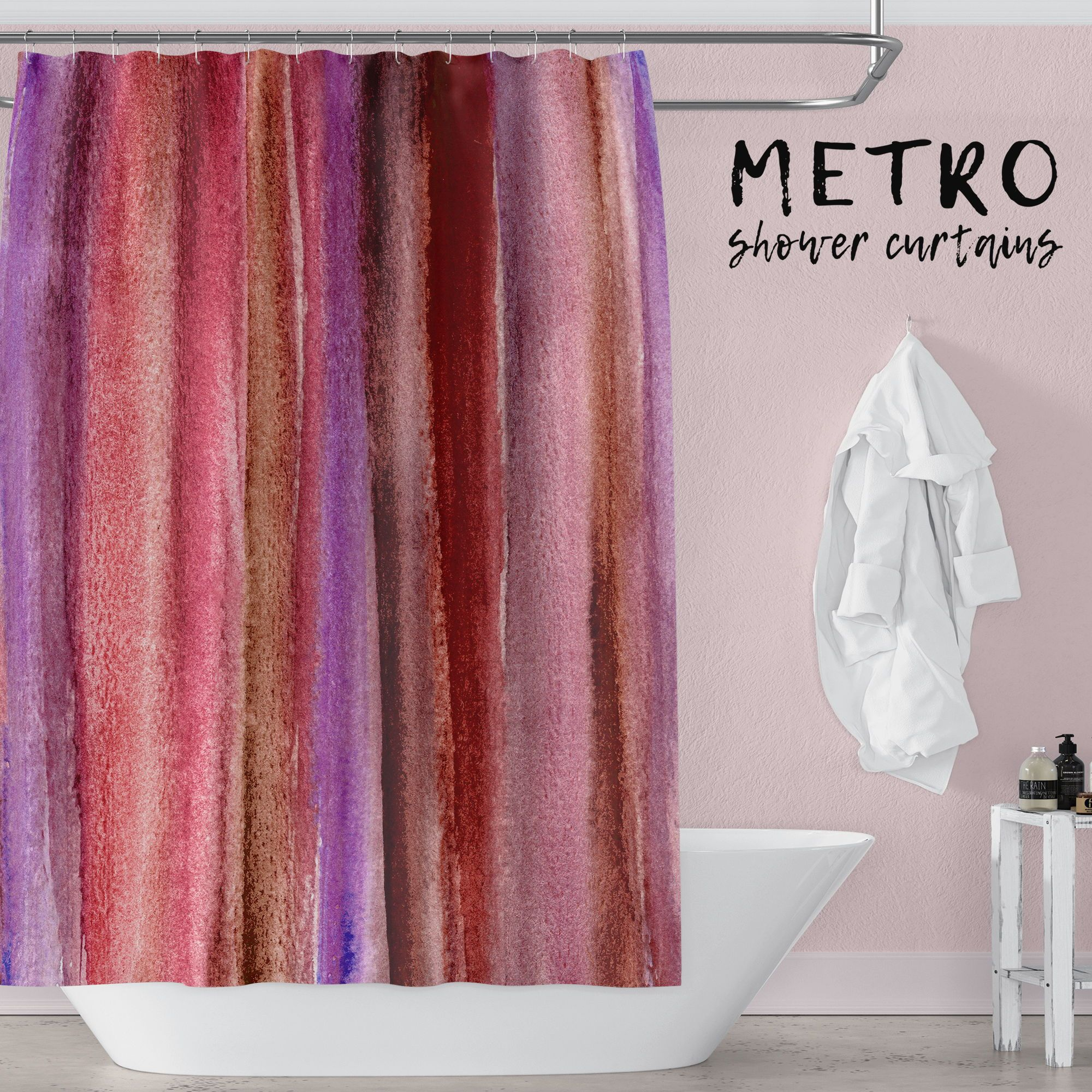 Burgundy Watercolor Stripes Abstract Art Shower Curtain Bathroom