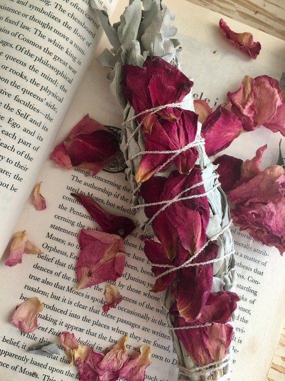 White Sage & Rose Petal Smudge Bundle, Sage, Sage Bundle, Smudge Bundle, Floral Sage, Floral Smudge, Incense, Floral Smudge Stick