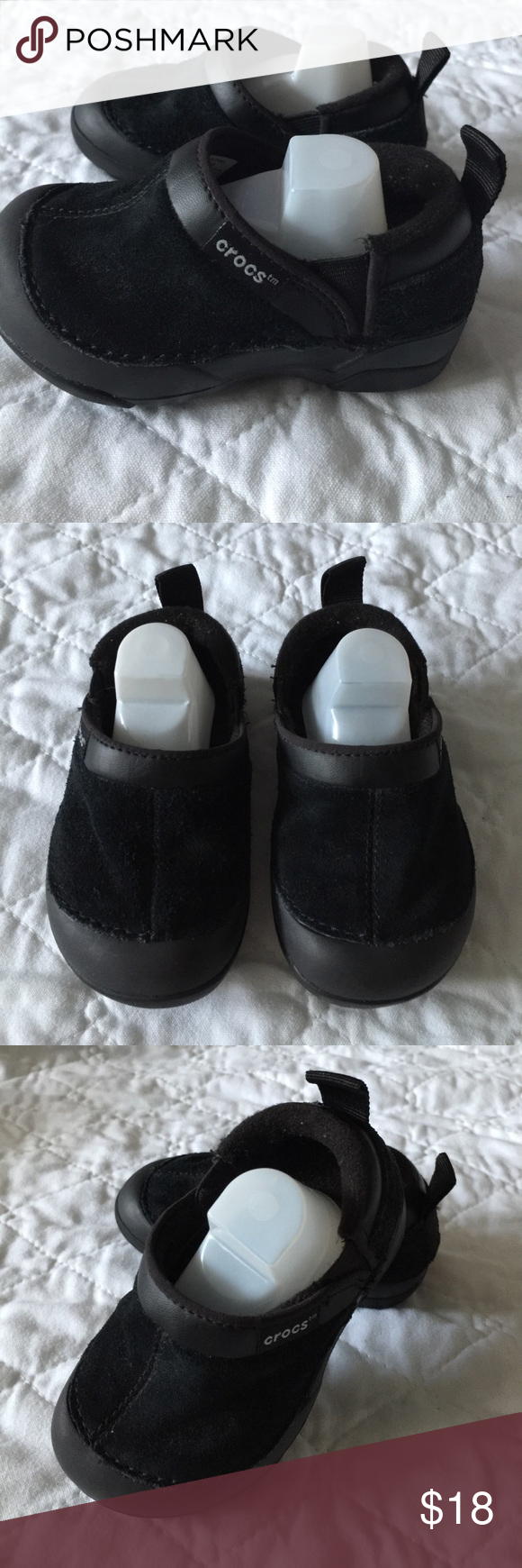 Croc's slip-on Black Suede Upper size 6 Toddler Super comfy Black Crocs size 6 baby/toddler excellent used condition. Only worn a few times by my baby with no wear on bottom. Round toe, slip-on, back pull tab, elasticized goring for easy on. Super cute! Great for fall and winter shoes. One of my favorite shoes! CROCS Shoes Baby & Walker