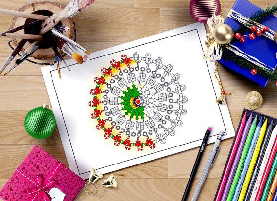 Mandala Coloring Pages Adults Printable : Christmas mandala coloring page adult coloring book printable