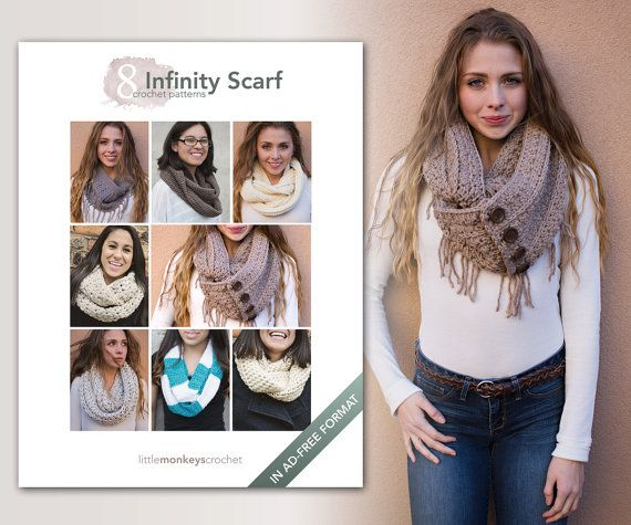 Infinity Scarf Crochet Patterns - 8 Pattern E-Book by Little Monkeys ...