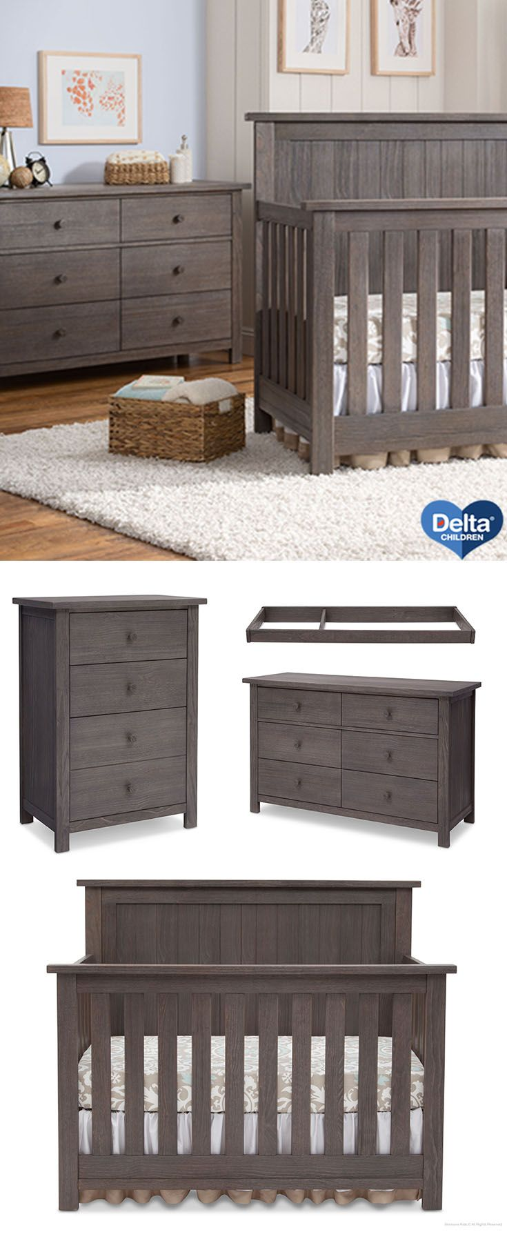 rustic grey crib on a gorgeous wooden nursery collection from serta for delta children the northbrook 4 i baby nursery furniture sets baby nursery furniture rustic baby nurseries pinterest
