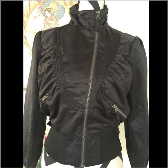 Trendy Ruffle Black Short Jacket Trendy Ruffle Black Short Jacket. Size M. Excellent condition. Like new. Jackets & Coats