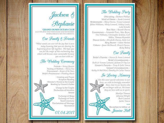 Beach Wedding Program Template Blissful Starfish Printable Ocean Silver Ceremony Instant Diy By