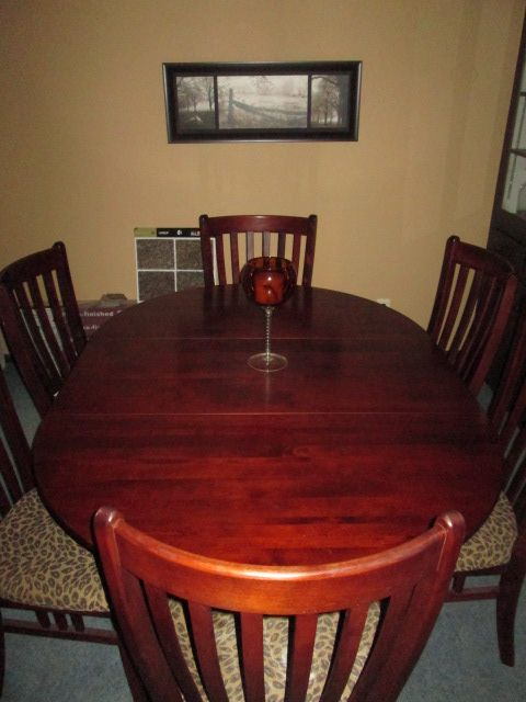 Our Canadel cherry wood table and 6 chairs My sister