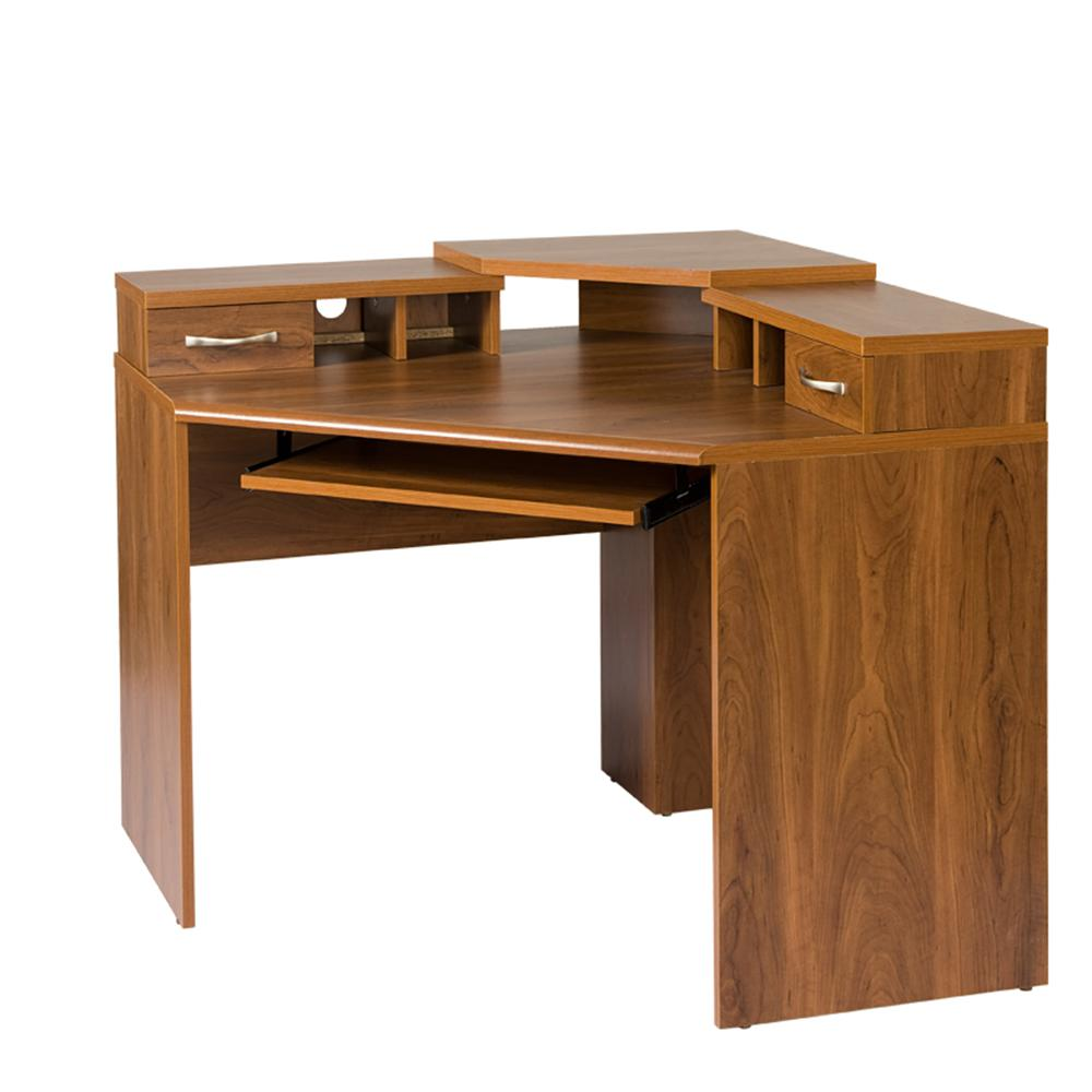 Os Home And Office Furniture Corner Desk With Monitor Platform Keyboard Shelf 2 Drawers Autumn Oak