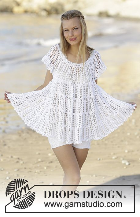 Tunic with fan pattern, flounce and A-shape, crochet top down in ...