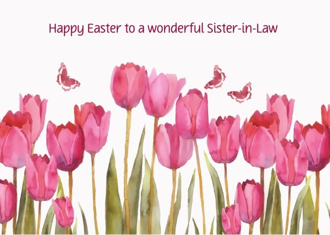 Happy Easter, Customizable Easter card, pink tulips card Happy Easter, Customizable Easter card, pink tulips card ,