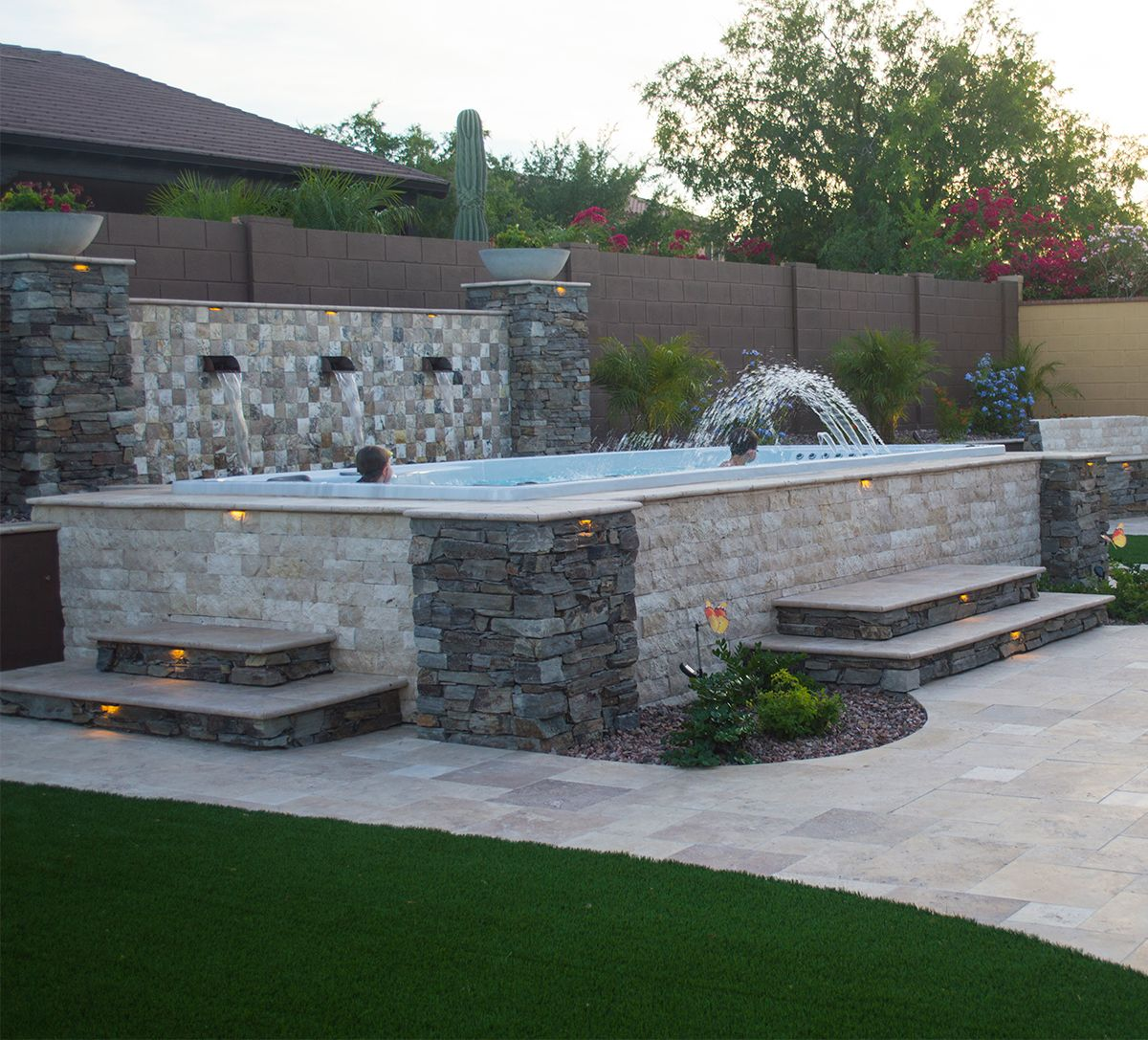 With the right design above ground swim spa installs can look as good as inground