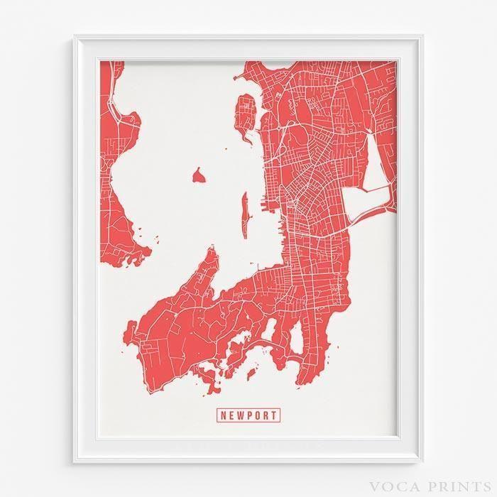 Newport rhode island street map print Newport rhode island Rhode