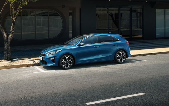 Download Wallpapers Kia Ceed 2018 4k Hatchback Side View Exterior New Blue Ceed Kia Besthqwallpapers Com Genfer Autosalon Blau Heck
