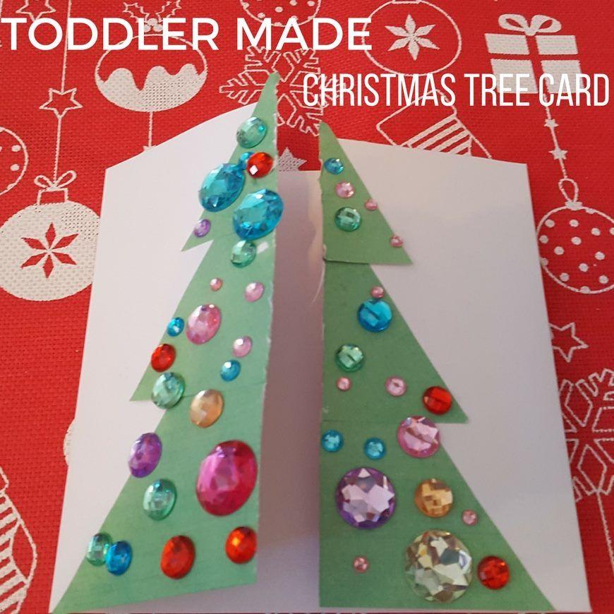 Toddler Made Christmas Tree Card Christmas tree cards