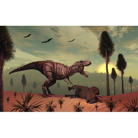 A Triceratops falls victim to Tyrannosaurus Rex Canvas Art - Mark StevensonStocktrek Images (36 x 23)