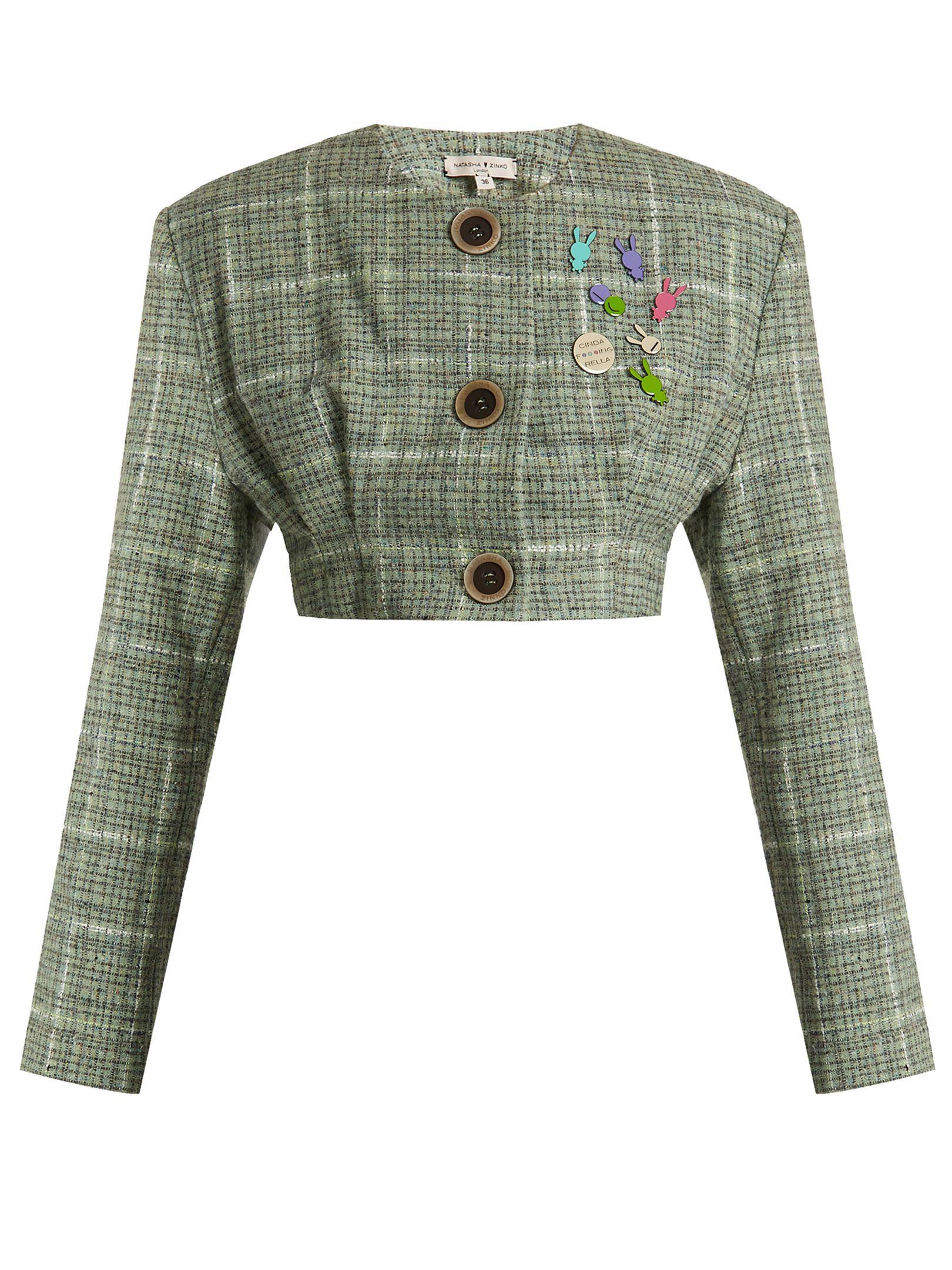 7d23940de NATASHA ZINKO COLLARLESS CROPPED WOOL-BLEND TWEED JACKET. #natashazinko  #cloth #