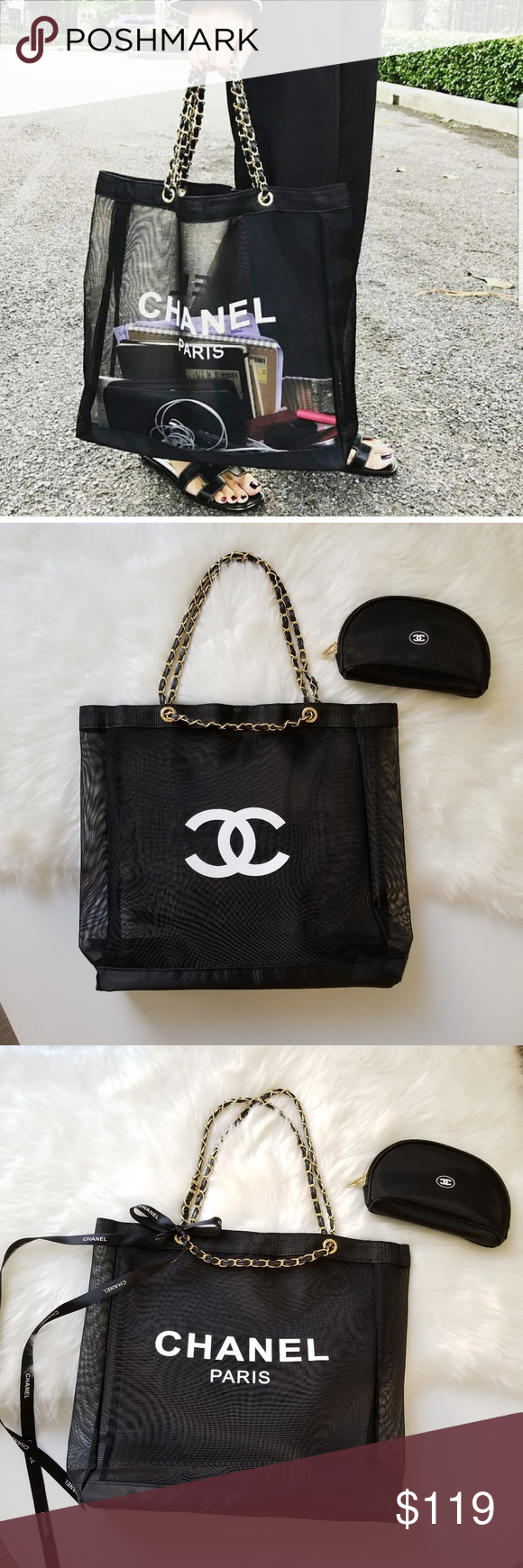 ccef774d31a9 VIP gift mesh tote and cosmetics bag set. Brand new. CHANEL VIP Black Mesh  Tote Bag and cosmetics bag. Faux Leather Chain(Gold-Color Chain)  Size(approx)  ...