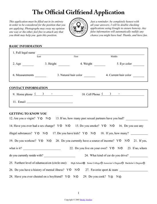 girlfriend application for facebook | Girlfriend Application Form ...
