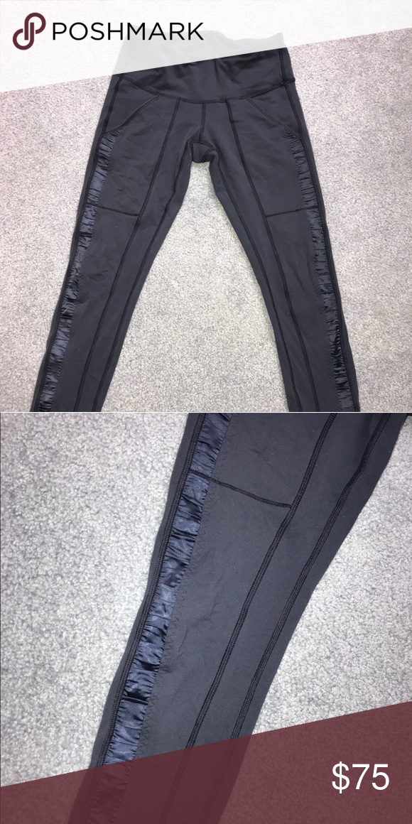 d803734f2eeff Lululemon Leggings with Ribbon Rouching These are navy blue lululemon  leggings with ribbon rouching and pockets on legs. Extremely comfortable  and in great ...