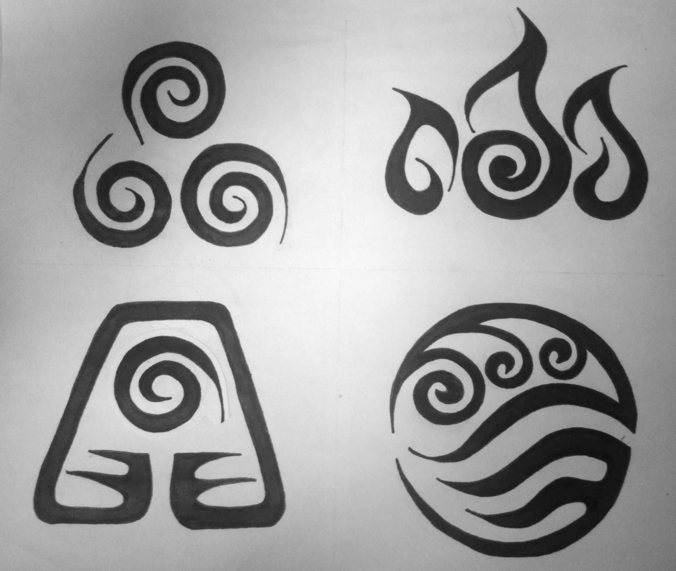 Avatar element symbols tribal tattoo design by - Tatouage 4 elements ...