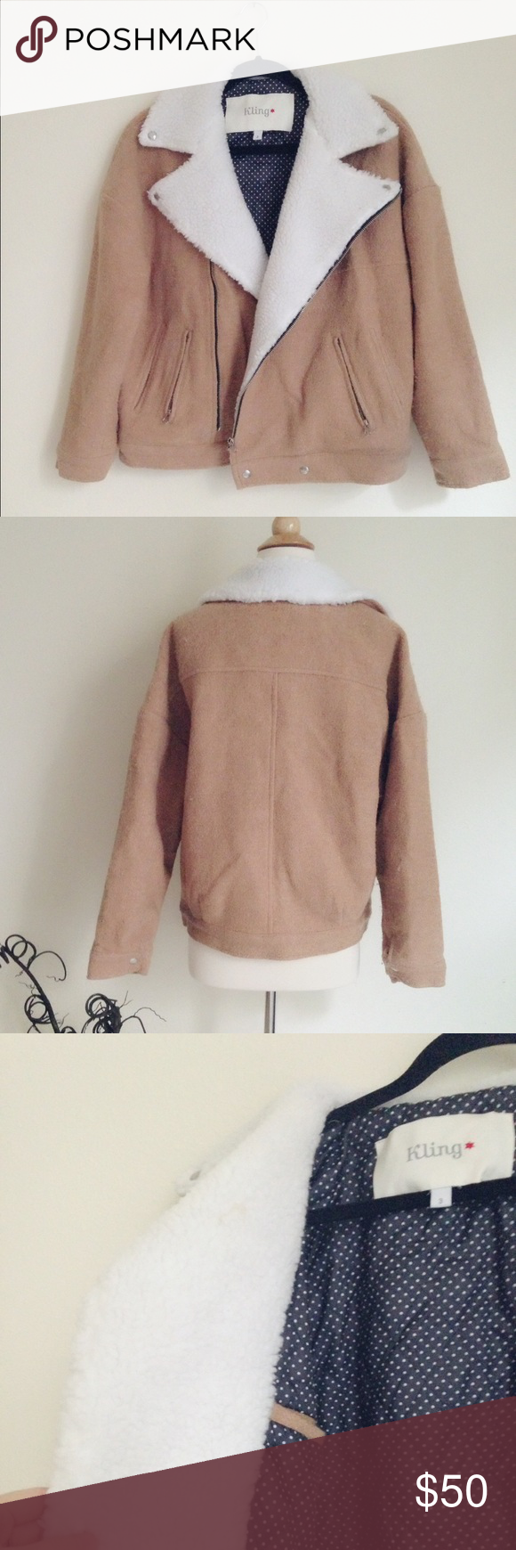 """Kling Tan Wool-Blend Freddie Jacket Bomber jacket style, shell 30% wool, 50%poly, 20% viscose. Lining 100% poly. Good quality and heavy. Fabric doesn't feel soft, but a little coarse.    Two front pockets, one inside pocket. European size 3, best fits US size S/M. Chest 21 1/2"""", length 24"""". Only been worn once, in good condition. ✅offer welcome 🚫no trade Kling Jackets & Coats"""