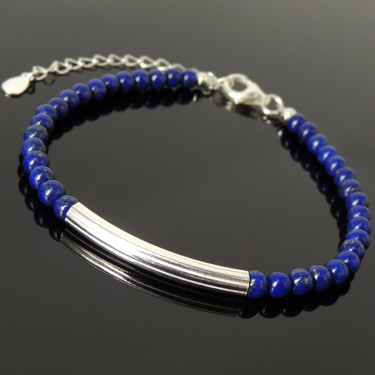 4mm Lapis Lazuli Healing Gemstone Bracelet with S925 Sterling Silver Elegant Charm, Chain & Clasp - Handmade by Gem & Silver BR1256