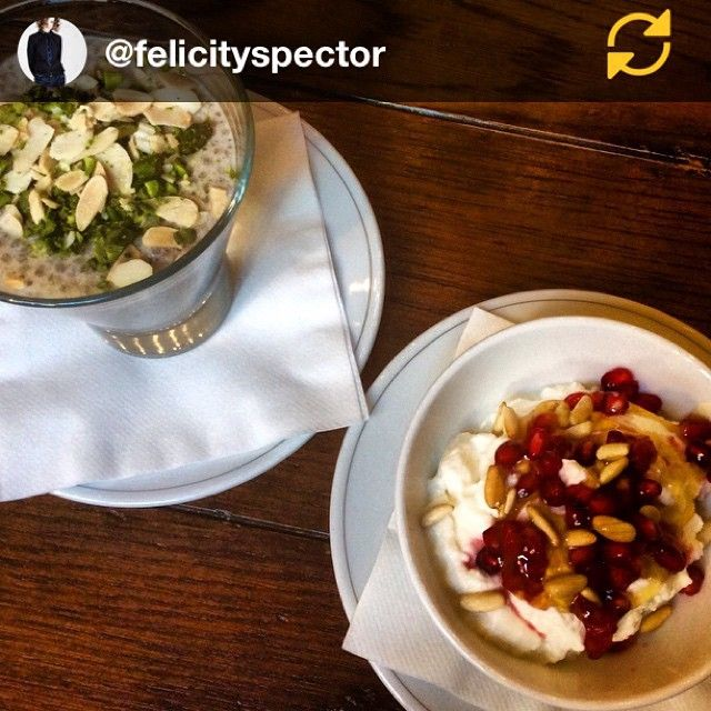 "Love this pic of my Chai Chia bowl topped with lots of nuts  RG @felicityspector: Part one in an epic breakfast ""degustation"" by @chefcalum with @danaelemara - beginning with chia seeds in almond milk with cardamom and cinnamon - and goats curd with honey, pomegranate and honey #breakfast #brunch #healthy #chia #almondmilk #cheese #pomegranate #spice #instafood #holborndiningroom #vegan #cleaneating #regramapp #chaichia"